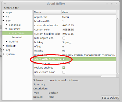 mint menu always show favorite applications in Linux Mint 15 MATE