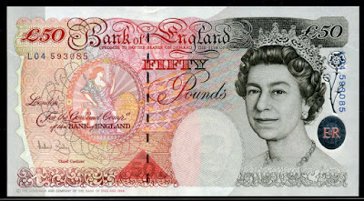 British notes Bank of England 50 Pounds banknotes Queen Elizabeth