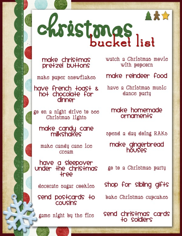 G rated christmas bucket list for Fun things to do for christmas party