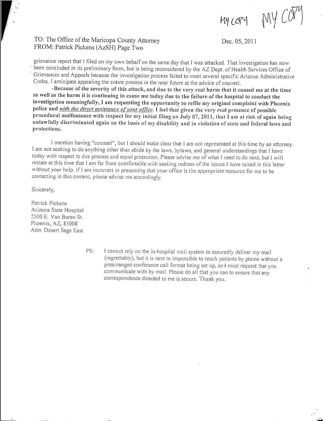 The arizona state hospital and patient abuse paoloreedgmail i was a bit dismayed when about two weeks after i had sent the above letter to the county attorneys office i received the letter shown below from the spiritdancerdesigns Choice Image