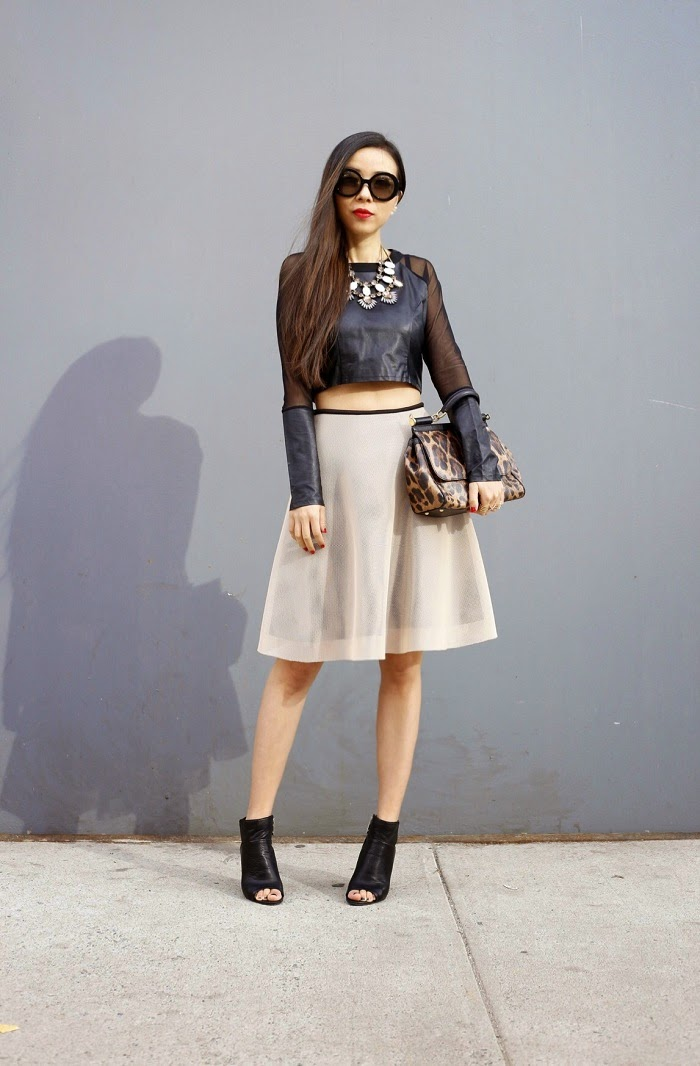 For love lemons crop top, topshop ruffle skirt, dolce gabbana sisley bag, prada sunglasses, baublebar statement necklace, Baublebar 360 pearl studs, baublebar statement rings, Dolce vita leka booties, peep toe booties, spring essential, fashion blog, nyc, street style