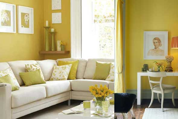 Sage Green And Yellow Living Room (6 Image)