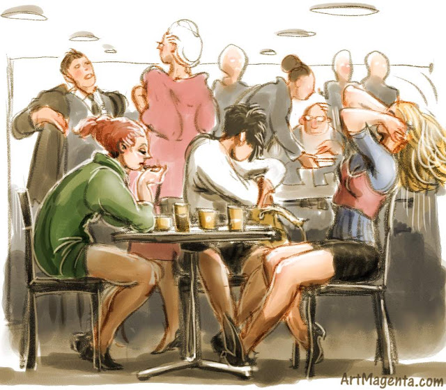 Snapshot from a lunch restaurant is a sketch by artist and illustrator Artmagenta