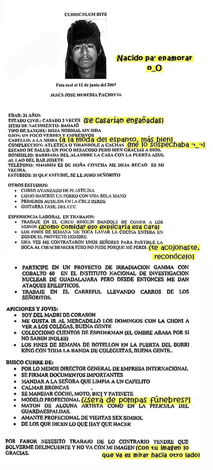 DIARIO de un YOGUR Caducado.: Curriculum vitae.