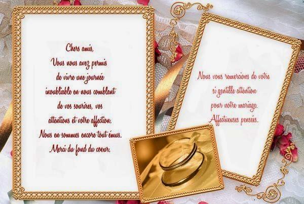 Jolie carte remerciement mariage gratuit