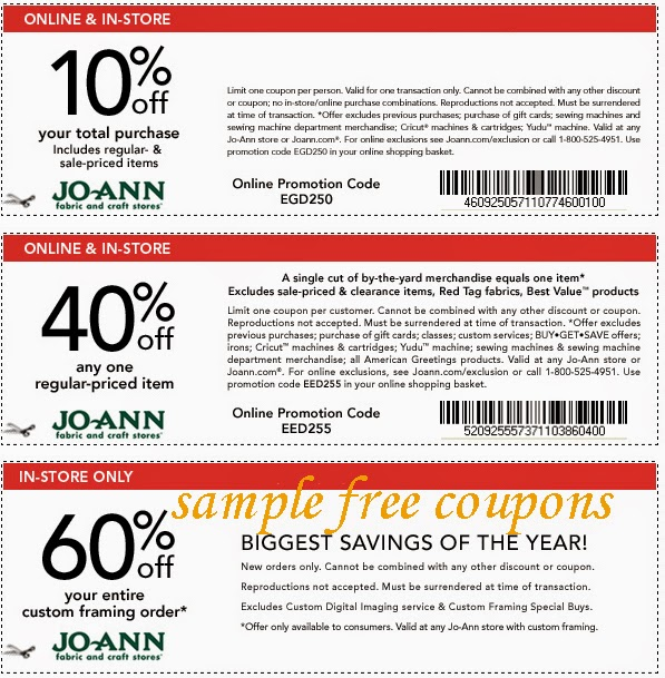 6 verified Joann coupons and promo codes as of Dec 2. Popular now: Up to 75% Off w/ Joann Coupons. Joann Fabrics isn't just fabrics and crafts; look to this store for everything from framing to sewing machines too. Related Stores. Offers Related To Joanns Coupons. Keepsake Quilting Coupon. Momiji Coupons. Keepsake NeedleArts Coupon 88%().