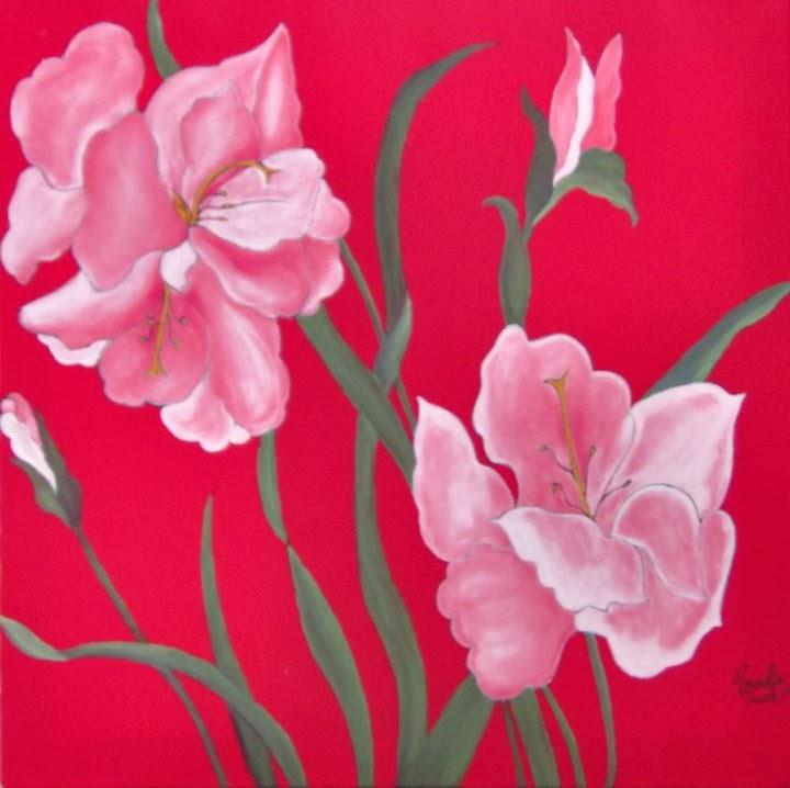 Titolo- Fiori-   Pittura su seta- Dim. 45x45- Anno 2003 -