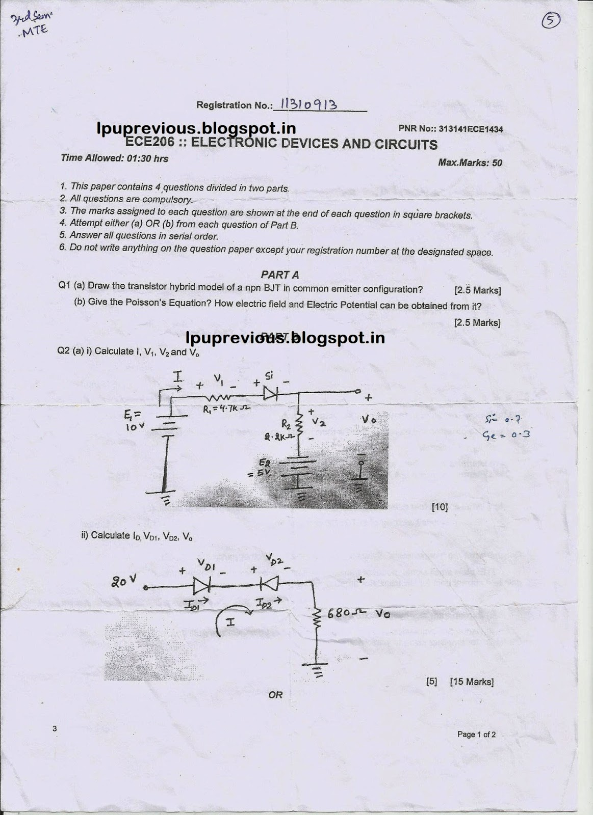 ece 206 electronic devices and circuits previous question papers and