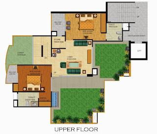 Emerald Court :: Floor Plans,Emperor Penthouse - Type B:-Upper Floor5 Bedrooms, 6 Toilets, Kitchen, Dining, Drawing, 2 Balconies, Lobby, Servant Room With Toilet Terrace Garden Area - 4035 Sq. Ft. 1396 Sq. Ft. Terrace Area