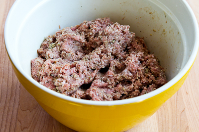 meat mixture for Low-Carb and Gluten-Free Turkey Meatballs with Romano Cheese and Herbs found on KalynsKitchen.com