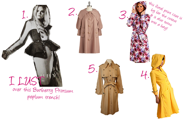 A vintage blog. CutandChic Vintage shop's favorite raincoats for Autumn 2012