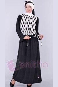 Zenitha Gamis Zn110 - Hitam (Toko Jilbab dan Busana Muslimah Terbaru)