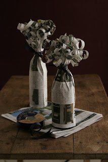 bottle wrapping with newspaper