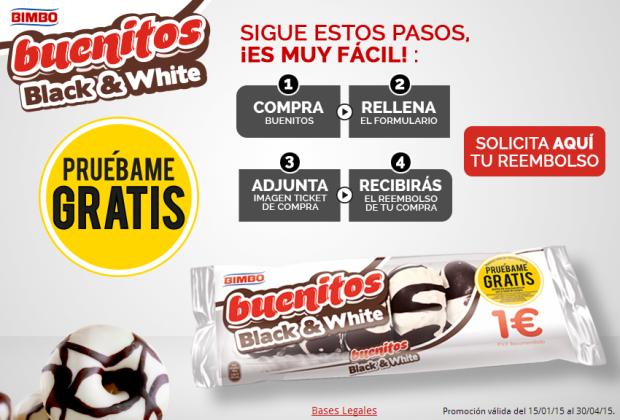 los dulces Black & White de pan rico muestras gratis
