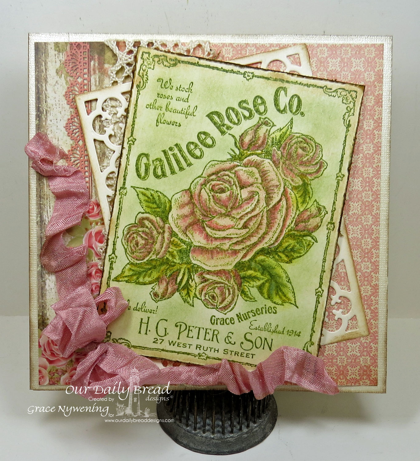 Stamps - Our Daily Bread Designs Galilee Rose Co.,  ODBD Custom Quatrefoil Pattern Die, ODBD Blushing Rose Paper Collection