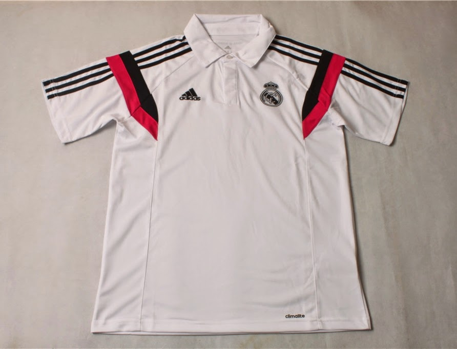 JERSEY TRAINING POLO T-SHIRT REAL MADRID WHITE 2014-2015