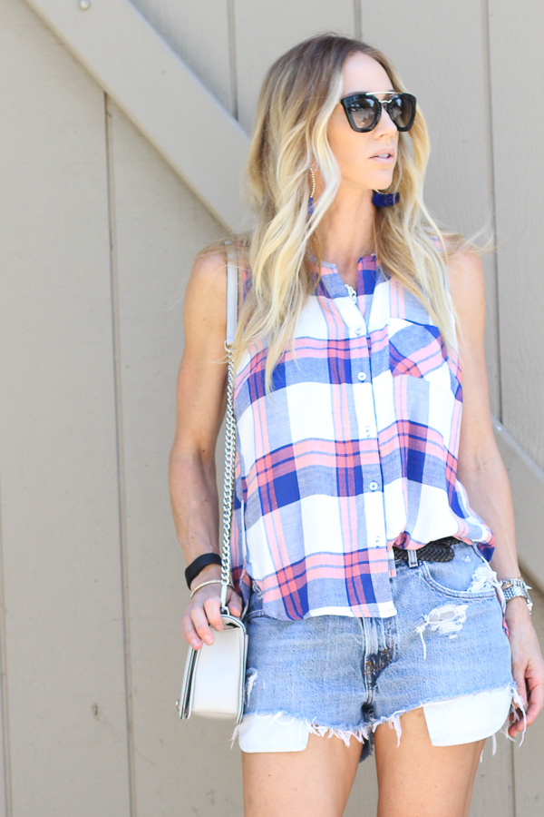 navy coral plaid button up