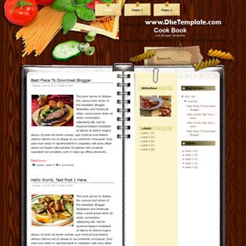 Cook Book Blogger Template. blogger template wth 3 column. blogger template for rcipes and cooking blog