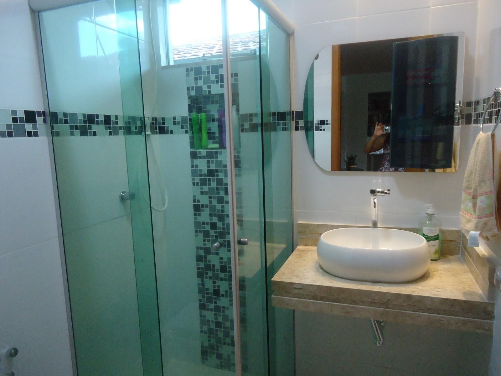 Realizando a Reforma: Banheiro Social Vcs viram? #3E798D 1600x1200 Banheiro Com Blindex Verde