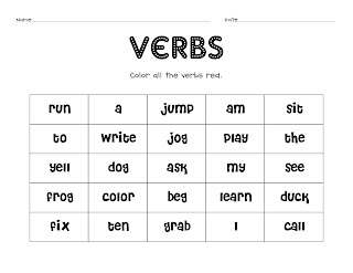 Teaching little firsties!: Verbs!