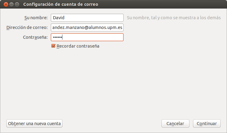 Sincronizar cuenta de correo UPM con Thunderbird, upm ubuntu correo,