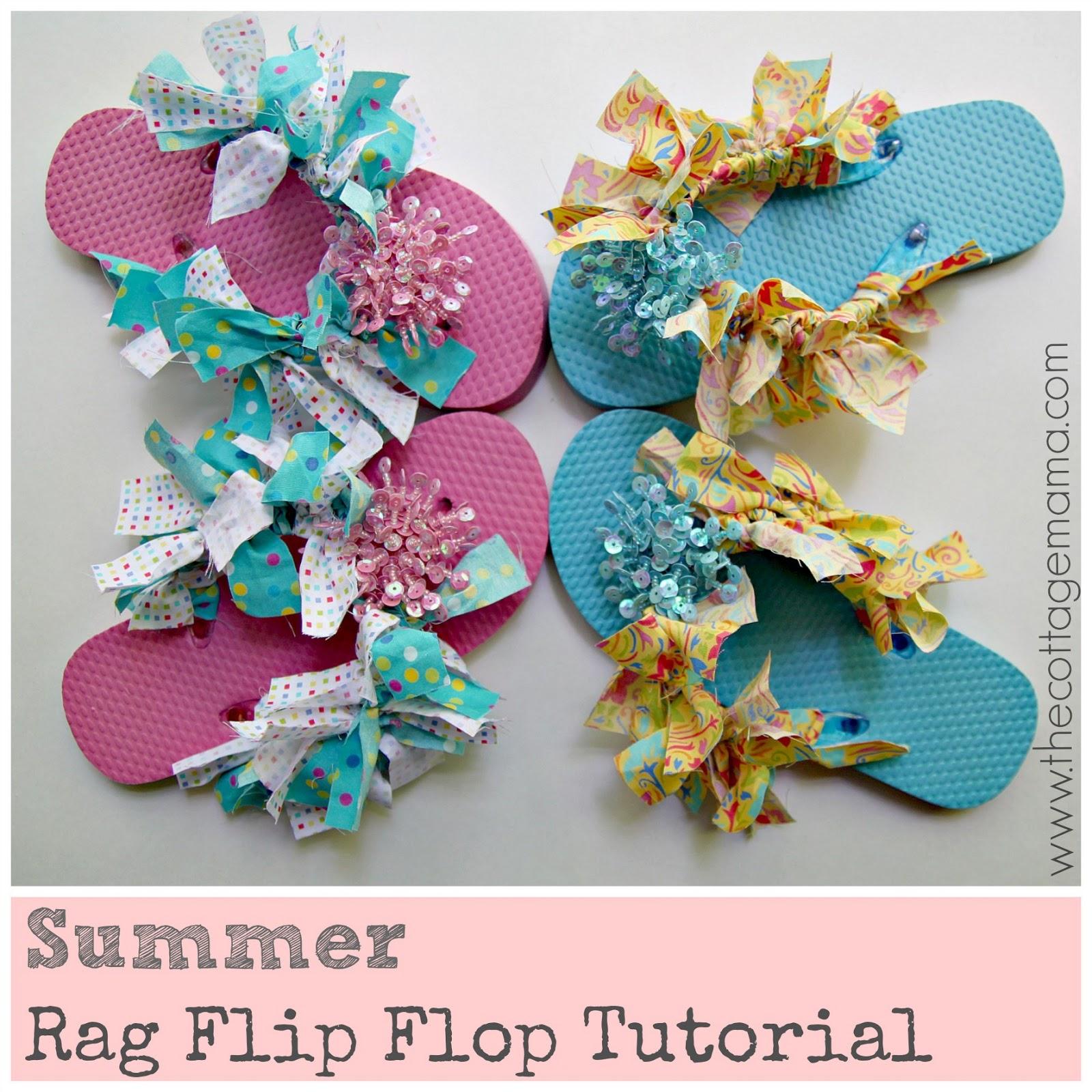 Summer rag flip flop tutorial the cottage mama for Flip flops for crafts