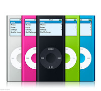 These are five iPods in various colors.