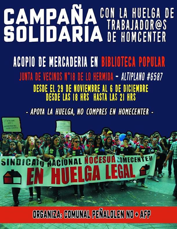 PEÑALOLEN:  CAMPAÑA SOLIDARIA CON LA HUELGA DE TRABAJADORES HOMCENTER