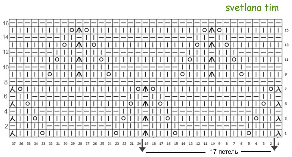 Вязание узор елочка схема 31