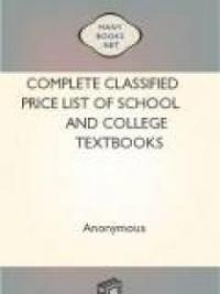 Complete Classified Price List of School and College Textbooks
