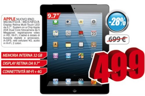 Scontato l'ipad di terza generazione di Apple a soli 499 euro con 32 GB di memoria interna e il modulo 3G