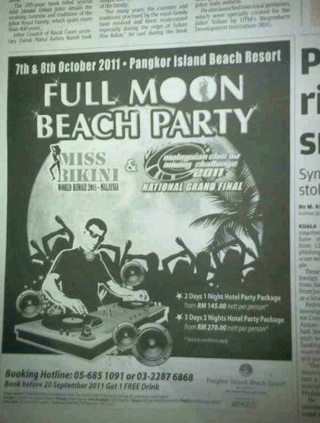 Full moon beach party kat Pangkor? Wow...