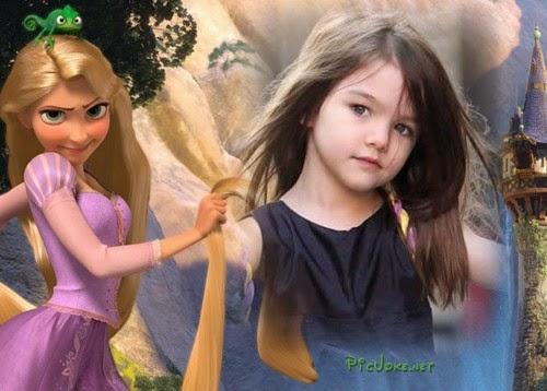 montagem infantil de Rapunzel