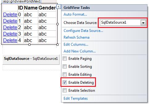 asp.net gridview enable delete