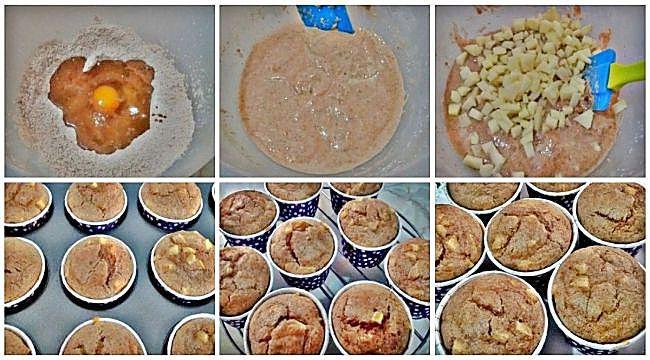 Preparación de los muffins integrales de manzana