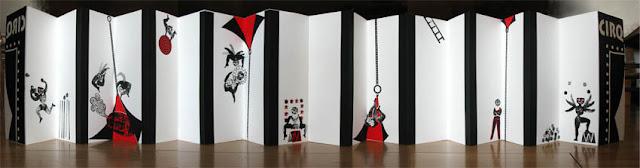 """livre d'artiste """"augmenté avec films d'animation"""" en sérigraphie de Brigitte Rio- cirque"""