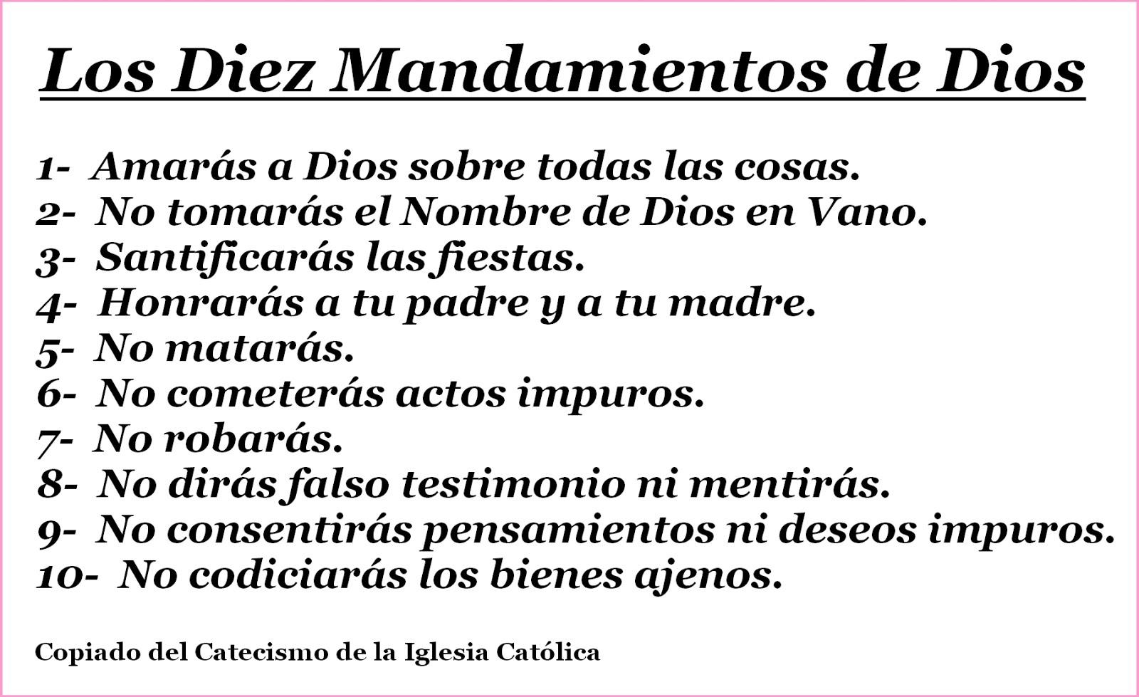 Los 10 Mandamientos  de Dios Padre Yahve.