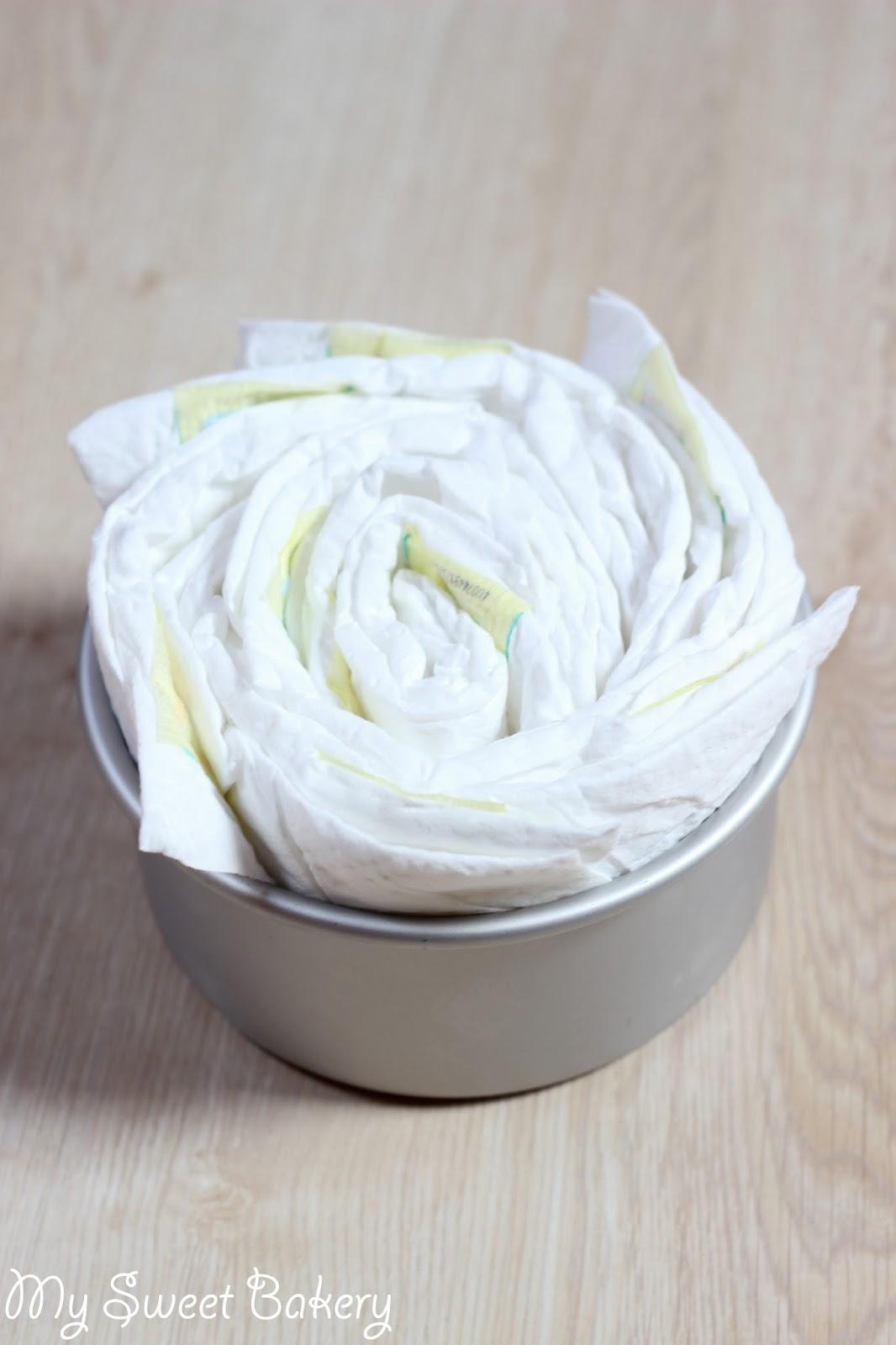 my sweet bakery pamperstorte diaper cake. Black Bedroom Furniture Sets. Home Design Ideas