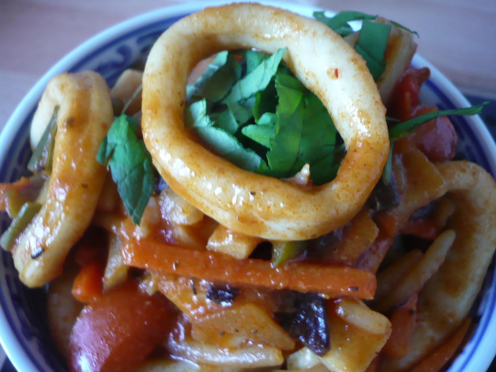 Celle qui cuisinait ou le plaisir de cuisiner wok tomat de calamars - Comment cuisiner les calamars ...