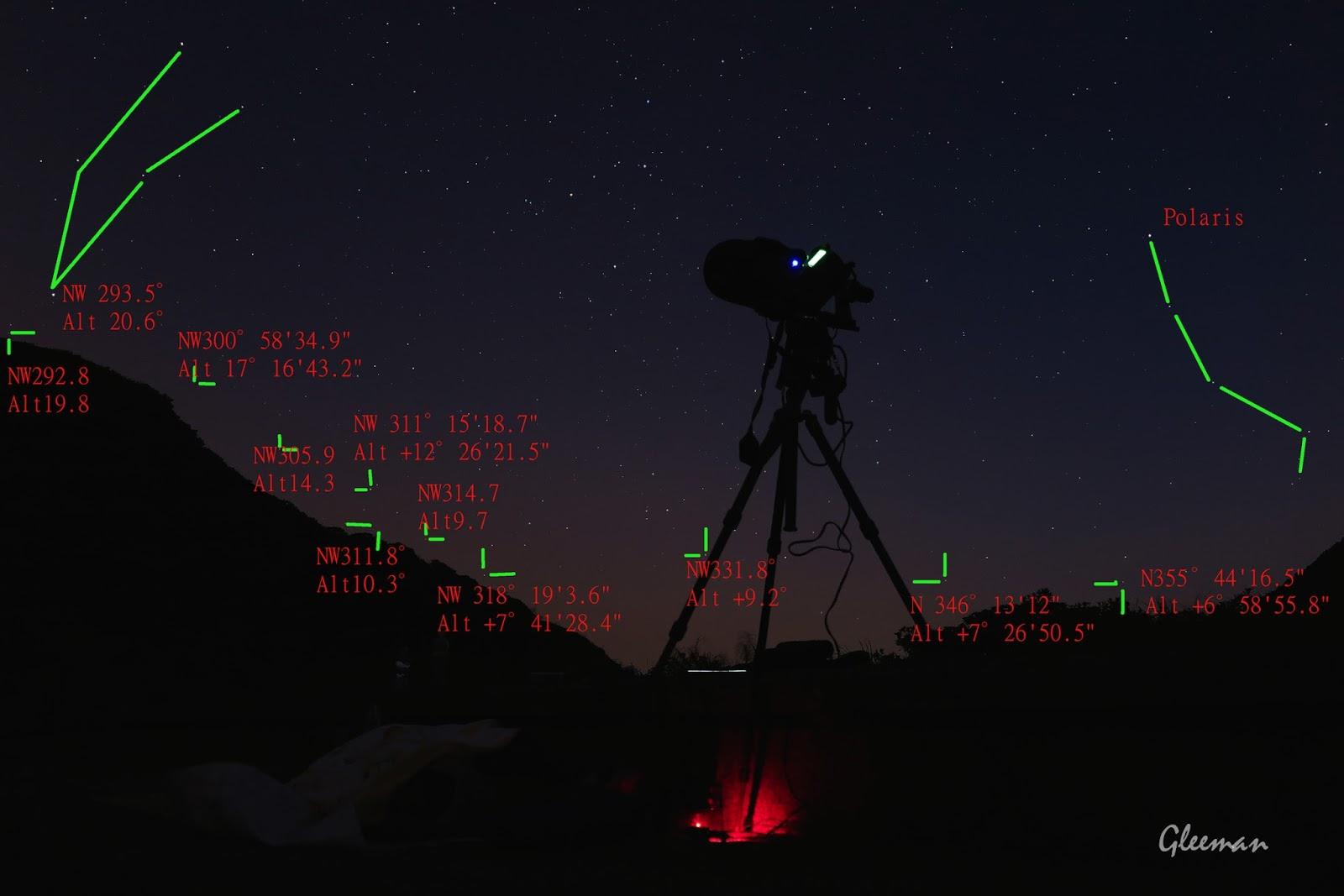 已經先依據過去的星空確認了大屯鞍部的地形,ISS升起的路徑自仰角約十度以上便沒有遮蔽。