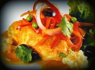 Gallina con verduras al curry