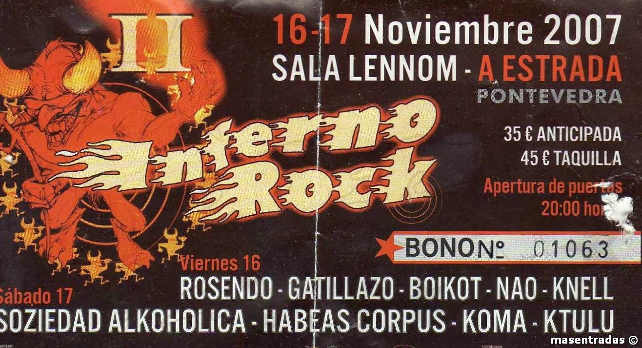 entrada del festival inferno rock