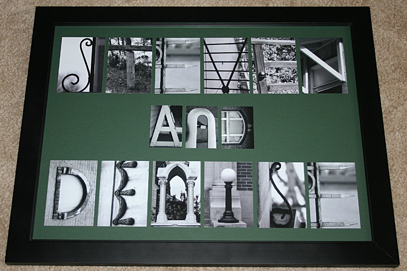 Letters within 18x20 frame rotated with 35x5 wallet black white photos on hunter green mat steven and denise are fun loving cousins of mine as well jeuxipadfo Choice Image