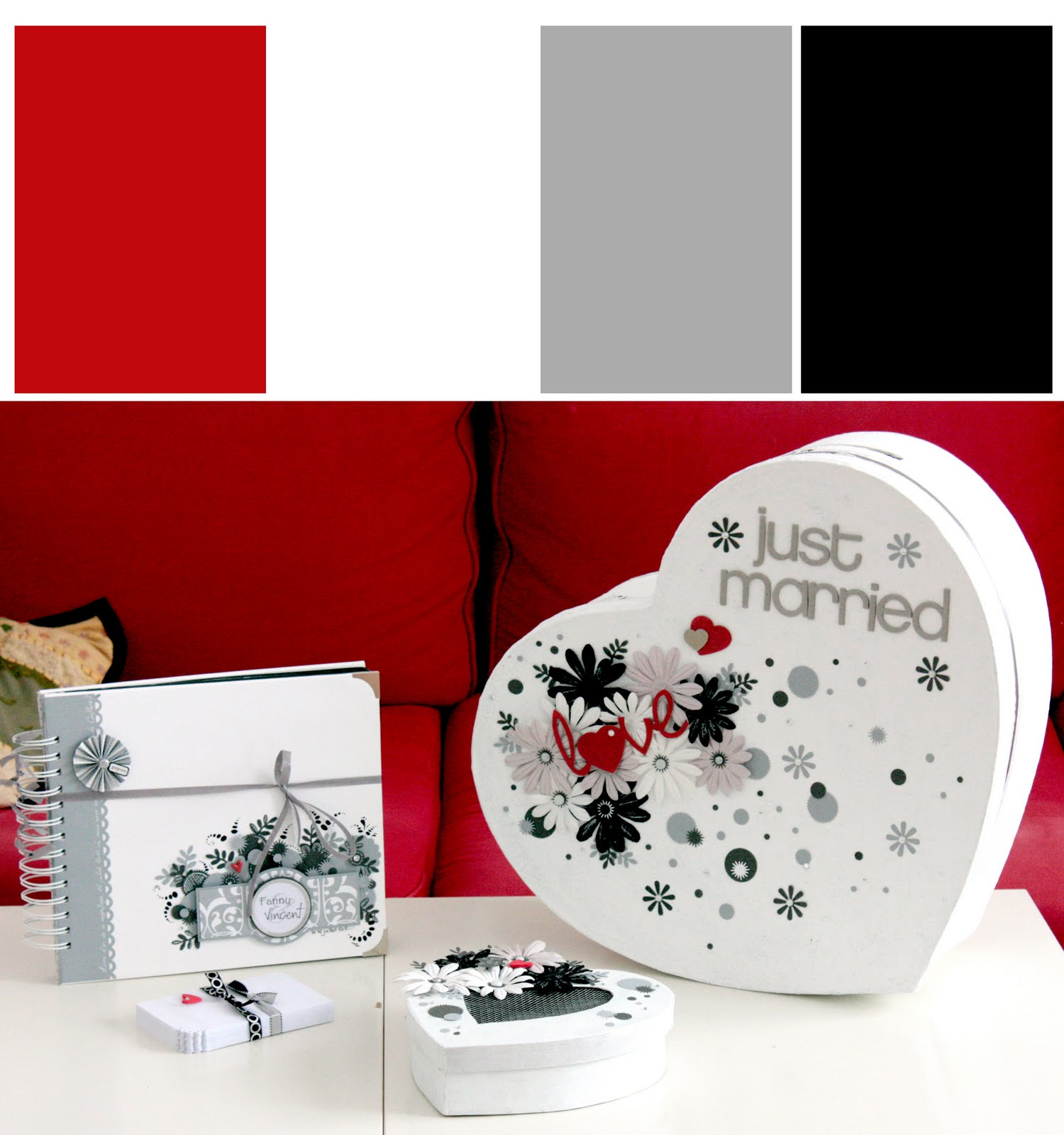 jolis papiers mariage noir gris rouge et argent. Black Bedroom Furniture Sets. Home Design Ideas