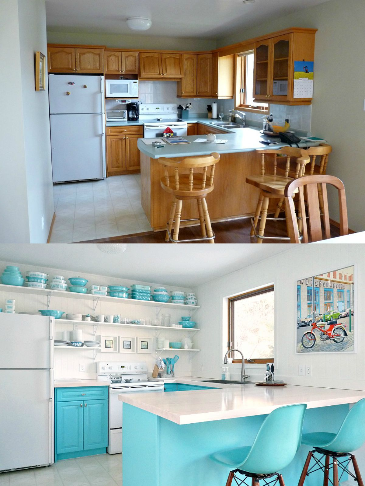 Before and After Budget-Friendly Aqua Kitchen Makeover