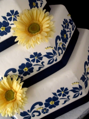blue and white floral wedding cake