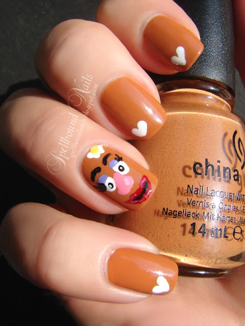 nails nailart nail art mani manicure Spellbound festival Mr Potato Head sweet potato fries food character China Glaze Desert Sun PotatoFest Mrs polish