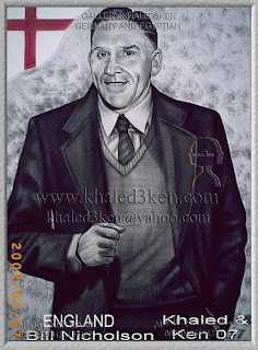 STARS ENGLAND BILL NICHOLSON Portrait Drawing Soccer Football Khaled3Ken Gallery