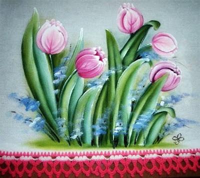 pintura em tecido pano de prato crochê tulipas