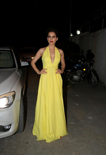 Kangana Ranaut Sexy Cleavage Show In Yellow Low Neck Dress At Film 'Tanu Weds Manu Returns' Success Party